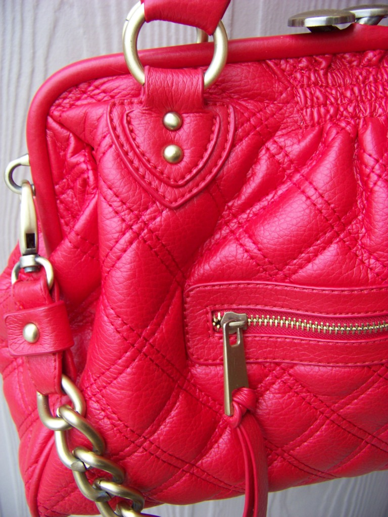 red quilted handbag
