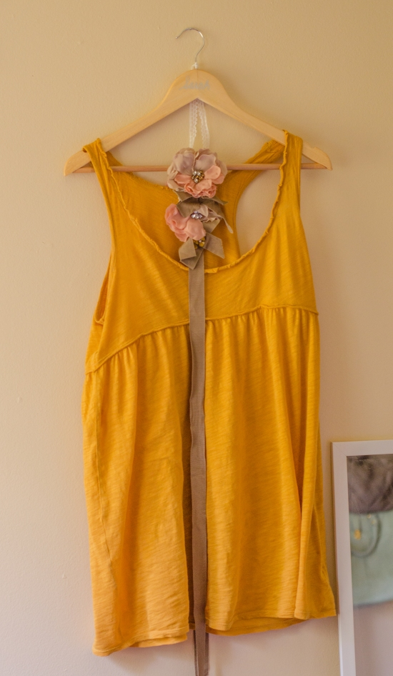 mustard yellow nightgown and flower sash