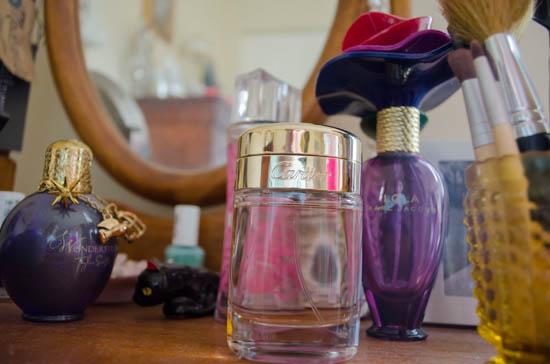 perfume bottles on vanity