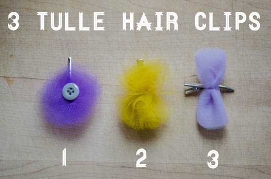 diy tulle hair clips