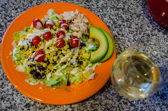 Chopped Salad and White Wine