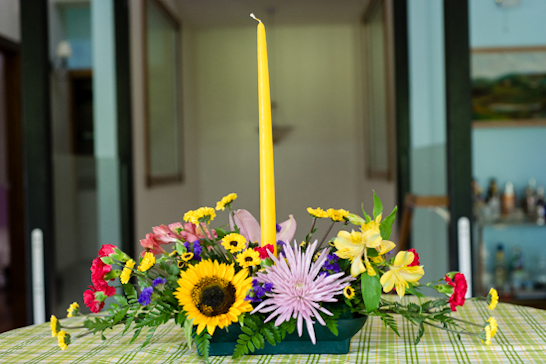 Long and Low Floral Arrangement