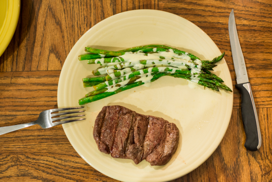Asparagus with Hollandaise Sauce, Filet Mignon