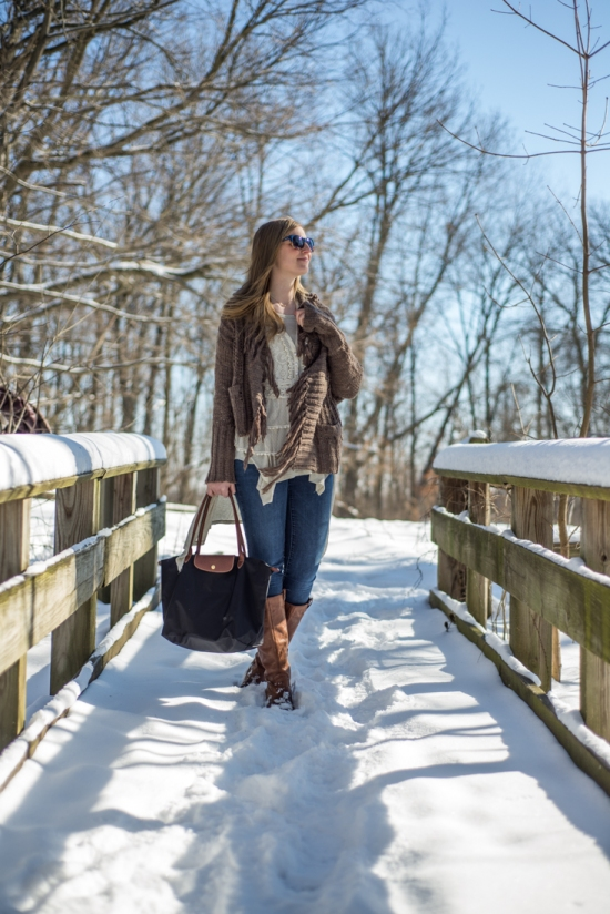 Free People Cardigan, Free People Henley, Gap Jeans, Jessica Simpson Boots