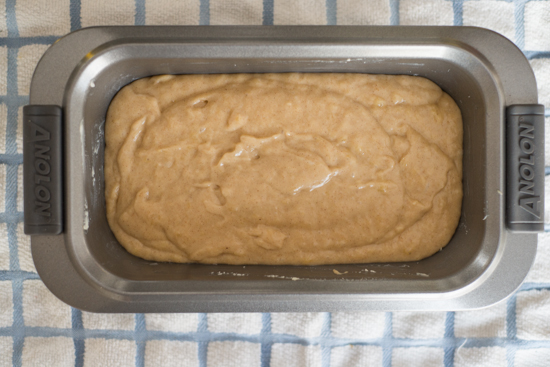 Banana Bread Batter in Bread Loaf