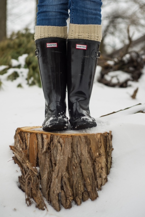Black Hunter Boots with Leg Warmers